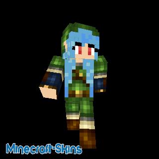 Fille Link au cheveux bleu