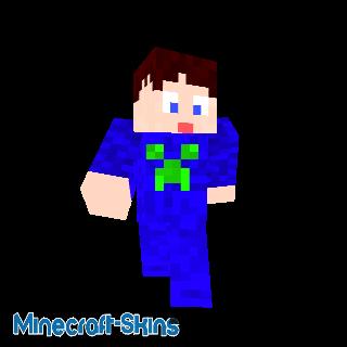 Garçon T-Shirt bleu avec tête de Creeper