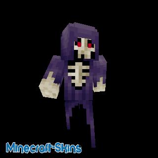 Squelette avec manteau violet