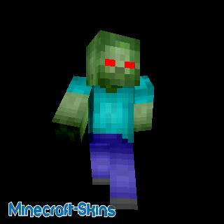Zombie Minecraft au yeux d'un rouge profont