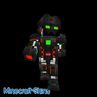 Robot avec nano armure rouge verte