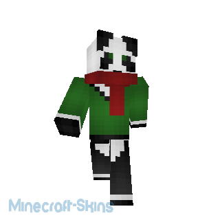 Panda Pull vert écharpe rouge