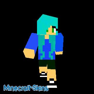 Adolescente cheveux bleu