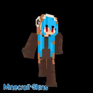 Panda roux cheveux bleu