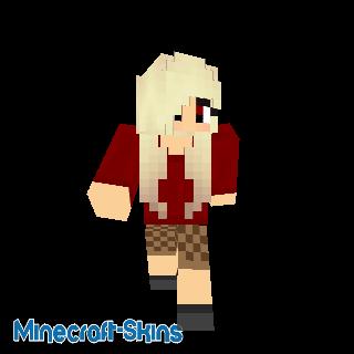 Fille blonde habillée en rouge